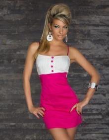 Елегантна рокля в бяло и розово