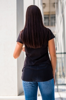 Черна тениска с мишка и тюл