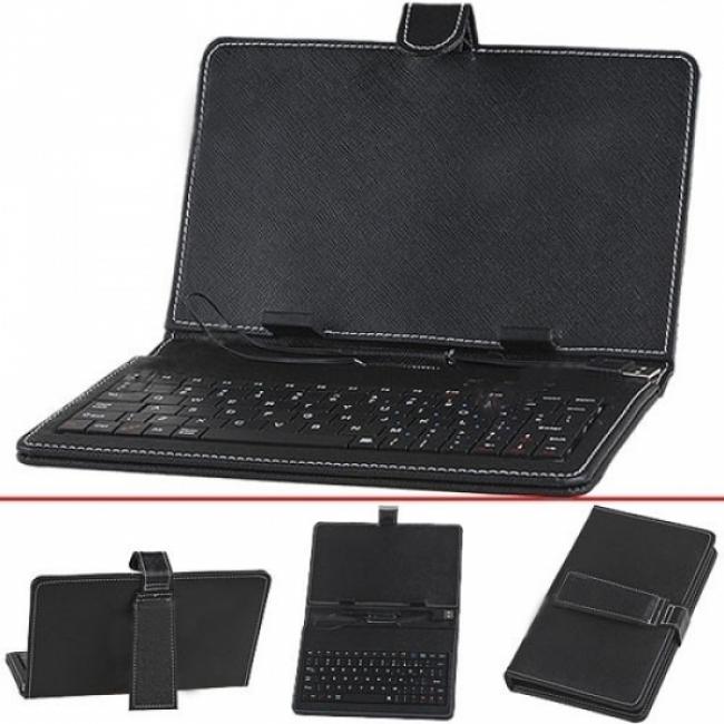 Калъф с клавиатура за таблет 9 инча - USB - ЧЕРЕН