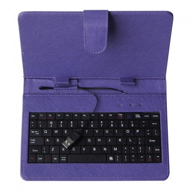 Калъф с клавиатура за таблет 9 инча УНИВЕРСАЛЕН - USB - ЛИЛАВ