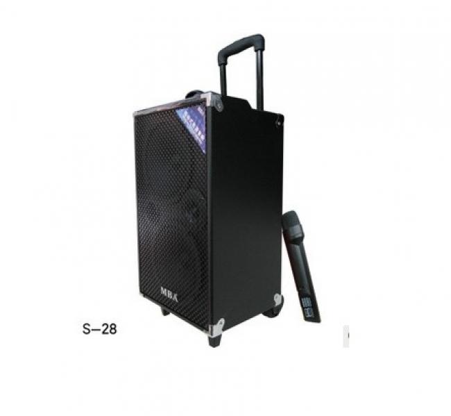 Тонколона MBA S-28 с вграден акумулатор, MP3 плеър, слот за флашка и карта памет и безжичен микрофон