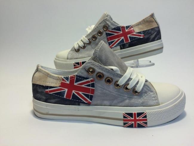 Нов модел UK флаг ниски Код - Сиви