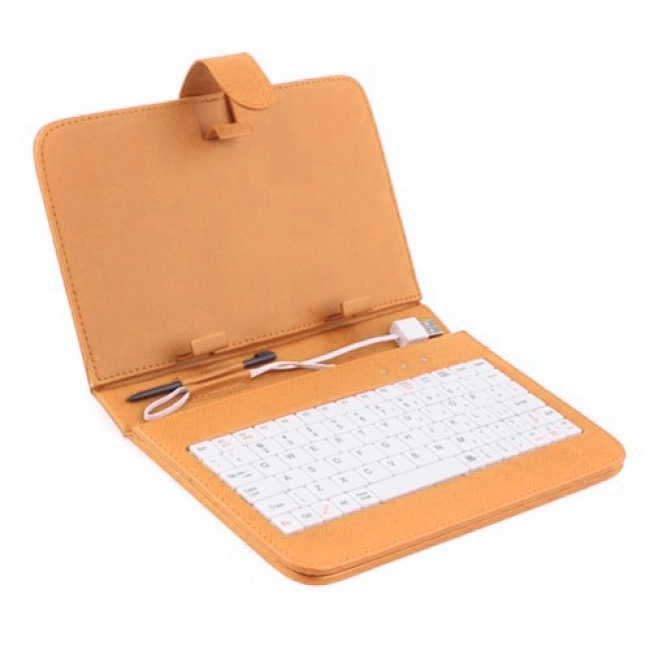 Калъф с клавиатура за таблет 7 инча - USB - ОРАНЖЕВ