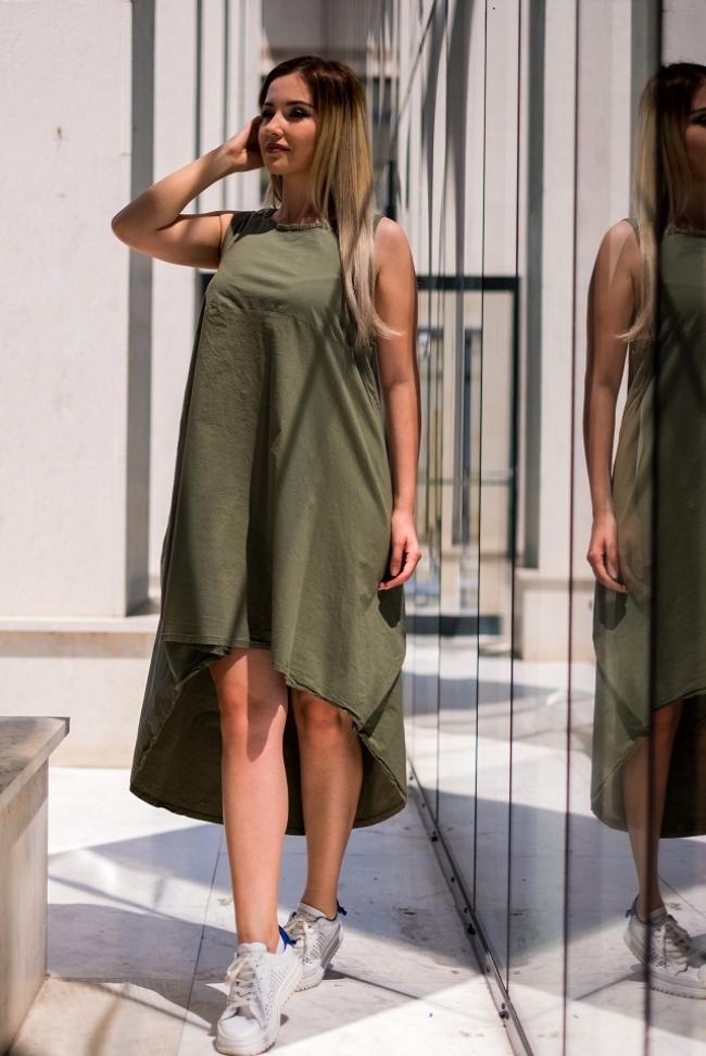 Лятна тъмнозелена туника - рокля