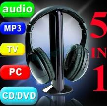 Безжични аудио слушалки 5 in 1, MP3, FM, PC, TV, CD-DVD