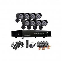 Видеонаблюдение - 8 канален DVR с 8 камери връзка с интернет