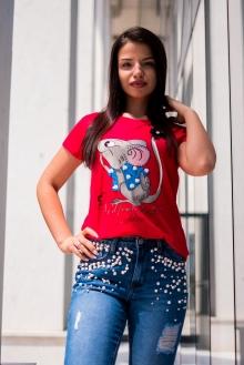 Червена тениска с мишка и тюл