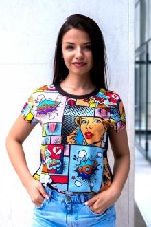 Тениска с комикси и прозрачен гръб