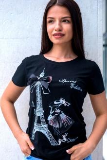 Черна тениска с айфелова кула